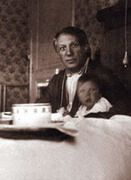 With daughter Maya, 1935