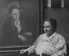 Gertrude Stein and portrait of her, 1922