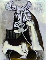 Pablo Picasso. Horned head to glass