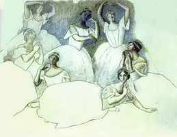 Pablo Picasso. Group of Dancers. Olga Kokhlova is Lying in the Foreground, 1919 - 1920