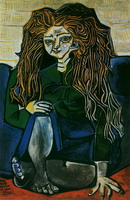 Pablo Picasso. Portrait of Madame Helene Parmelin green background