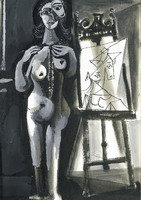Pablo Picasso. L`atelier- standing naked woman Bust