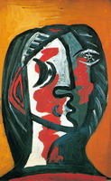 Pablo Picasso. Gray female head and red ocher background
