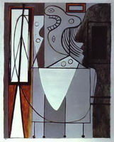 Pablo Picasso. Silhouette of Picasso and Young Girl Crying