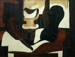 Still life with antique Head (guitar, partition, fruit bowl, female bust)