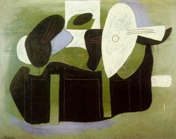 Pablo Picasso. Musical instruments on a table