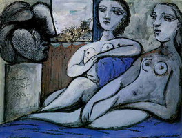 Pablo Picasso. Two naked feminine and woman head