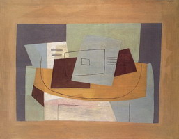 Pablo Picasso. Still Life geometric to the partition [Score and Guitar]