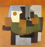 Pablo Picasso. Guitar and fruit bowl on a table Table