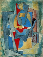 Pablo Picasso. Woman sitting in a red chair