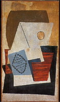 Pablo Picasso. Composition with blue cigar box [Glass and package of tobacco]