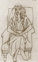 Pablo Picasso. Woman with hat sitting in a chair