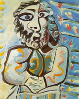 Pablo Picasso. Bust of man hands crossed