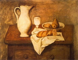 Pablo Picasso. Still life with jug and bread