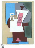 Pablo Picasso. Guitar and partition on pedestal