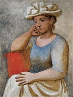 Pablo Picasso. Woman leaning with a white hat