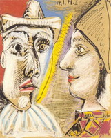Pablo Picasso. Pierrot and Harlequin profile