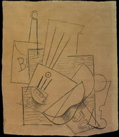 Pablo Picasso. Bottle of Bass, guitar, newspaper and glass on a square table, 1913