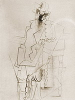 Pablo Picasso. Man with pipe seat and tuck [Man with pipe elbows on a table], 1914