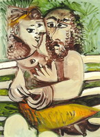 Pablo Picasso. Couple sitting on a bench