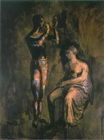 Harlequin grimant before a woman sitting