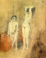 Pablo Picasso. Naked man sitting and standing naked woman