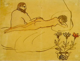 Pablo Picasso. Reclining Nude and Picasso sitting, 1902