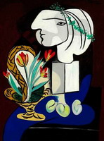Pablo Picasso. Stilllife with tulips (Nature morte aux tulipes)
