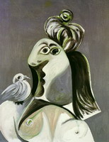 Femme au chignon and the green bird on shoulder